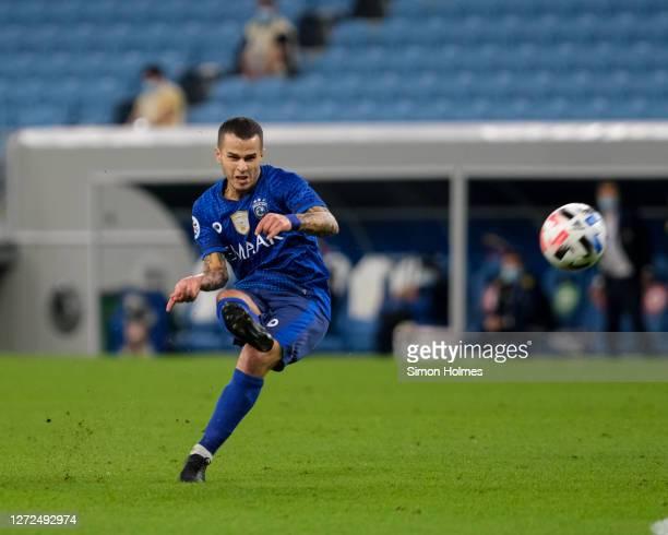 Sebastian Giovinco of Al Hilal scores a free kick during the AFC Champions League match between Al Hilal SFC and Pakhtakor at Al Janoub Stadium on...