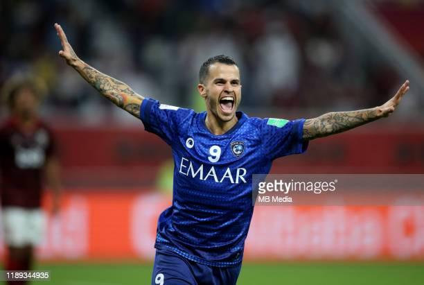 Sebastian GIOVINCO of Al Hilal SFC celebrates after score of SALEM ALDAWSARI 01 during the Match CR Flamengo and Al Hilal SFC at Khalifa...