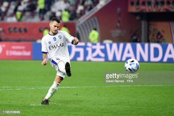 Sebastian Giovinco of Al Hilal SFC scores a penalty in the penalty shootout during the FIFA Club World Cup Qatar 2019 3rd place match between...