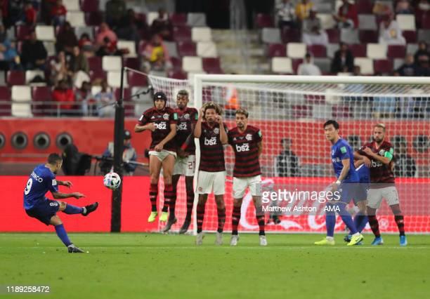 Sebastian Giovinco of Al Hilal takes a freekick during the FIFA Club World Cup Qatar 2019 Semi Final match between CR Flamengo and Al Hilal FC at...