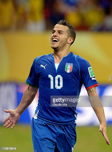 Sebastian Giovinco of Italy celebrates after scoring his team's fourth goal during the FIFA Confederations Cup Brazil 2013 Group A match between...