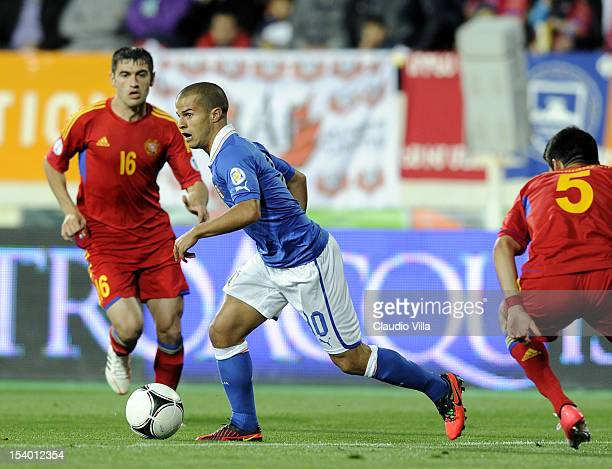 Sebastian Giovinco of Italy in action during the FIFA 2014 World Cup Qualifier group B match between Armenia and Italy at Hrazdan Stadium on October...