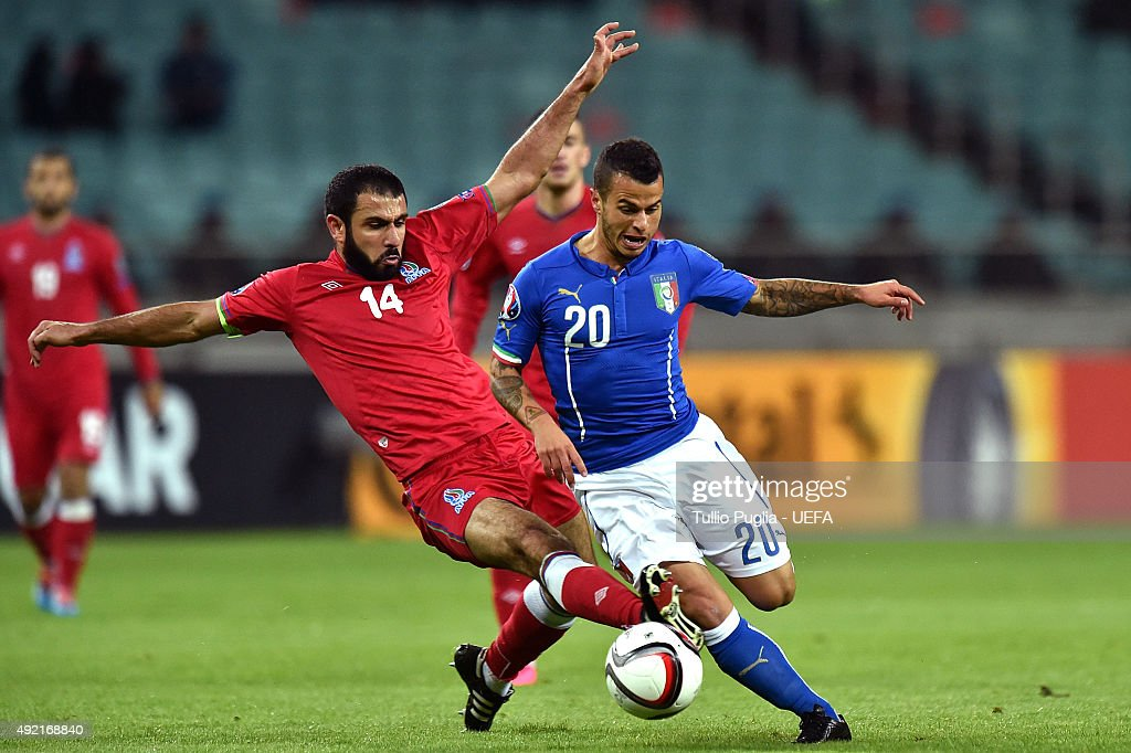 Sebastian Giovinco of Italy is challenged by Rashad F. Sadygoc of Azerbaijan in action during the UEFA EURO 2016 Qualifier between Azerbaijan and Italy at Tofig Bahramov Stadium on October 10, 2015 in Baku, Azerbaijan.