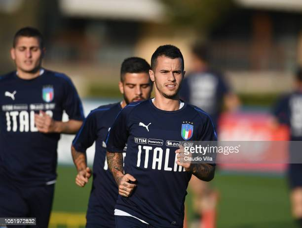 Sebastian Giovinco of Italy looks on during a Italy training session at Centro Tecnico Federale di Coverciano on October 12, 2018 in Florence, Italy.
