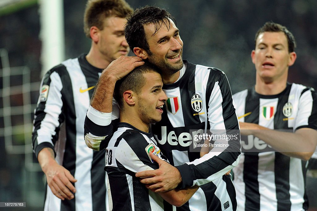 Sebastian Giovinco (L) of Juventus celebrates his goal with team-mates Mirko Vucinic during the Serie A match between Juventus and Torino FC at Juventus Arena on December 1, 2012 in Turin, Italy.