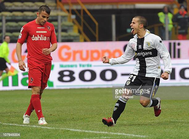 Sebastian Giovinco of Parma celebrates after scoring his team's goal during the Serie A match between Parma FC and Cagliari Calcio at Stadio Ennio...