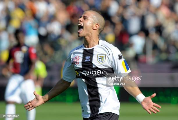 Sebastian Giovinco of Parma FC celebrates scoring the opening goal during the Serie A match between Parma FC and Genoa CFC at Stadio Ennio Tardini on...