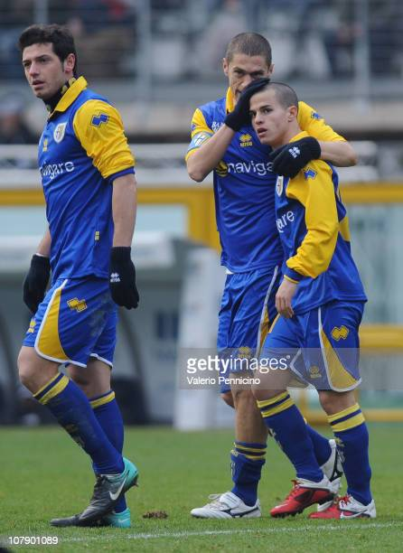 Sebastian Giovinco of Parma FC is congratulated for his second goal by teammate Stefano Morrone bringing the score to 20 during the Serie A match...