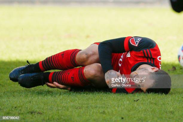 TORONTO ON MARCH 3 Sebastian Giovinco of TFC falls during the 2nd half of MLS action as the Toronto FC host the Columbus Crew in their home opener at...
