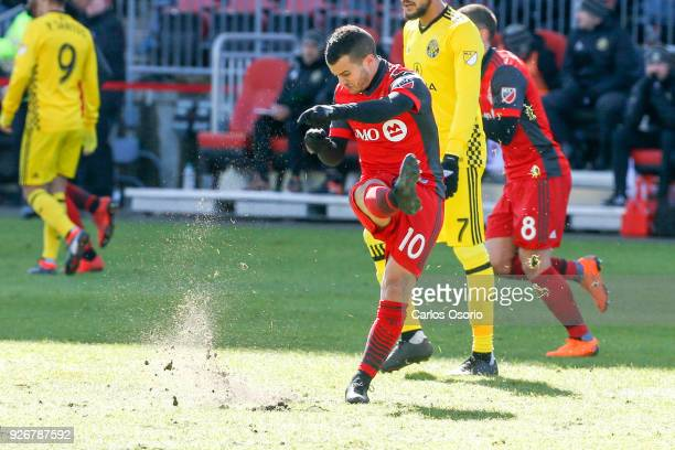 TORONTO ON MARCH 3 Sebastian Giovinco of TFC kicks the field in frustration during the 1st half of MLS action as the Toronto FC host the Columbus...