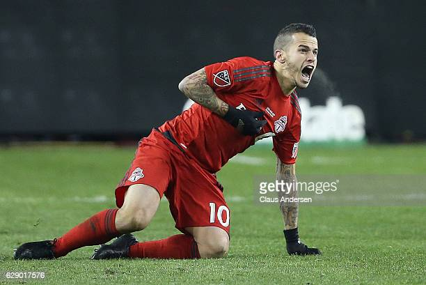 Sebastian Giovinco of the Toronto FC calls for a foul against the Seattle Sounders during the 2016 MLS Cup at BMO Field on December 10 2016 in...