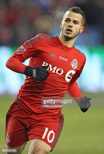 Sebastian Giovinco of the Toronto FC plays against the Seattle Sounders during the 2016 MLS Cup at BMO Field on December 10 2016 in Toronto Ontario...