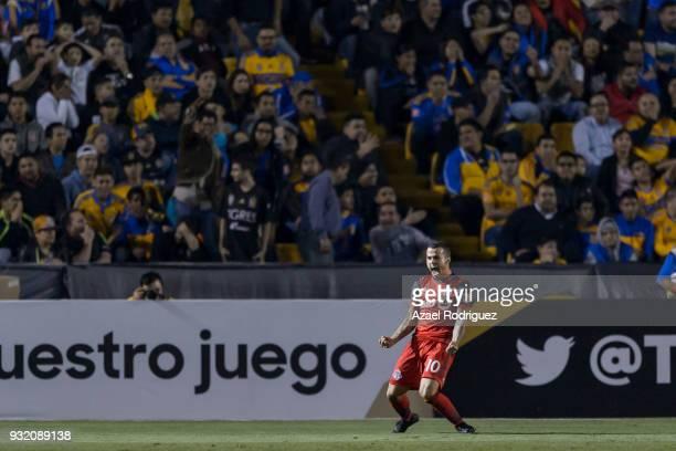 Sebastian Giovinco of Toronto celebrates after scoring his team's second goalduring the quarterfinals second leg match between Tigres UANL and...