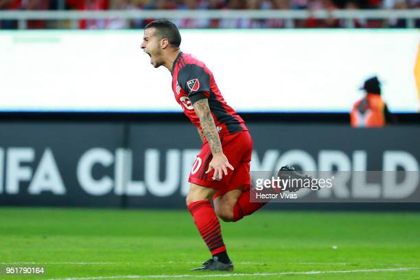 Sebastian Giovinco of Toronto FC celebrates after scoring the second goal of his team during the second leg match of the final between Chivas and...