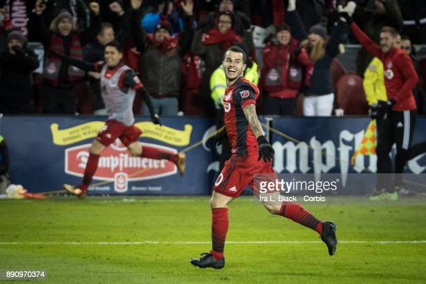 Sebastian Giovinco of Toronto FC celebrates Toronto FC's second goal during the 2017 Audi MLS Championship Cup match between Toronto FC and Seattle...
