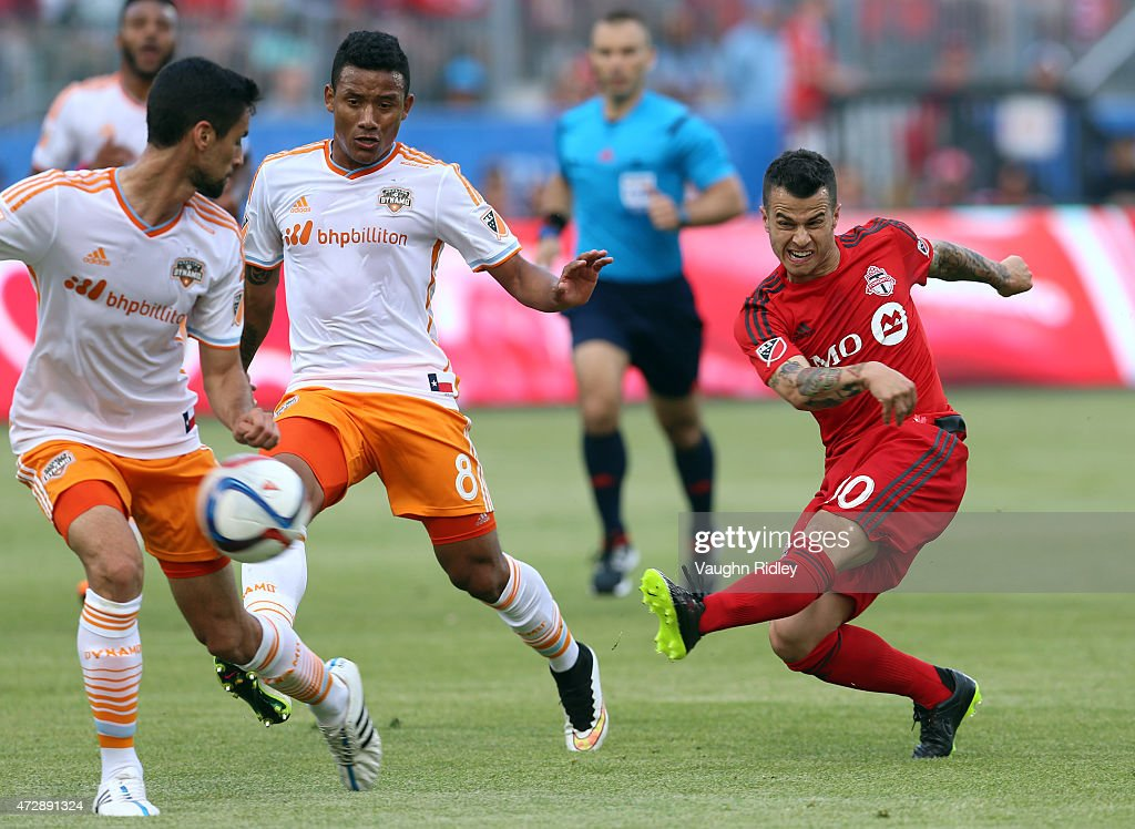 Sebastian Giovinco #10 of Toronto FC has a shot on goal during an MLS soccer game between the Houston Dynamo and Toronto FC at BMO Field on May 10, 2015 in Toronto, Ontario, Canada.