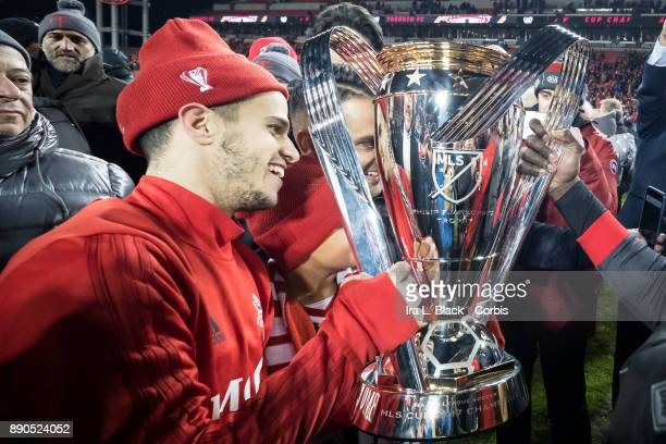 Sebastian Giovinco of Toronto FC holds the MLS Championship Cup after the 2017 Audi MLS Championship Cup match between Toronto FC and Seattle...