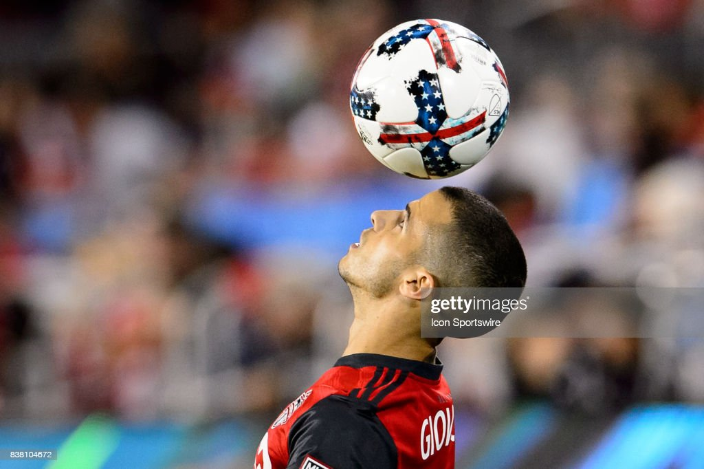 Sebastian Giovinco (10) of Toronto FC juggles the ball during the second half of the MLS Soccer regular season game between Toronto FC and Philadelphia Union on August 23, 2017, at BMO Field in Toronto, ON, Canada.