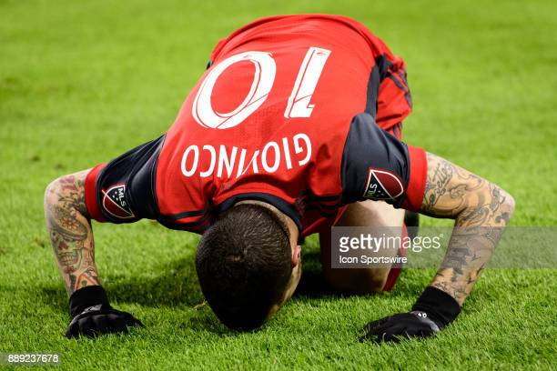 Sebastian Giovinco of Toronto FC kisses the ground during the 2017 MLS Cup Final between Toronto FC and Seattle Sounders FC on December 9 at BMO...
