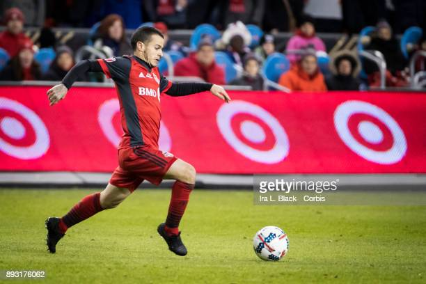 Sebastian Giovinco of Toronto FC leaps to take the ball across the pitch during the 2017 Audi MLS Championship Cup match between Toronto FC and...