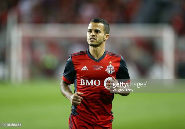 Sebastian Giovinco of Toronto FC looks on during the first half of the 2018 Campeones Cup Final against Tigres UANL at BMO Field on September 19,...