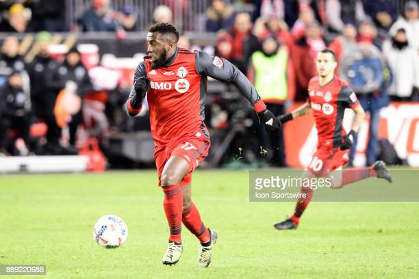 Sebastian Giovinco of Toronto FC passes the ball to Jozy Altidore of Toronto FC who went on to score the opening goal during the second half of the...