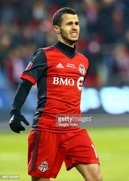 Sebastian Giovinco of Toronto FC reacts during the 2017 MLS Cup Final against the Seattle Sounders at BMO Field on December 9 2017 in Toronto Ontario...