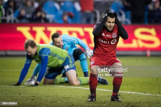Sebastian Giovinco of Toronto FC reacts to the blocked shot on goal by Stefan Frei of Seattle Sounders blocks his shot on goal during the 2017 Audi...