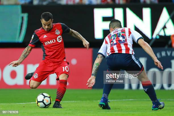 Sebastian Giovinco of Toronto FC scores the second goal of his team during the second leg match of the final between Chivas and Toronto FC as part of...