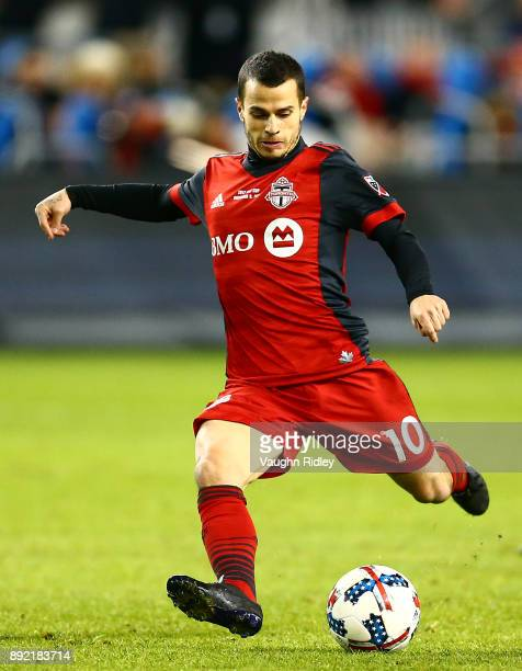 Sebastian Giovinco of Toronto FC shoots the ball during the 2017 MLS Cup Final against the Seattle Sounders at BMO Field on December 9 2017 in...