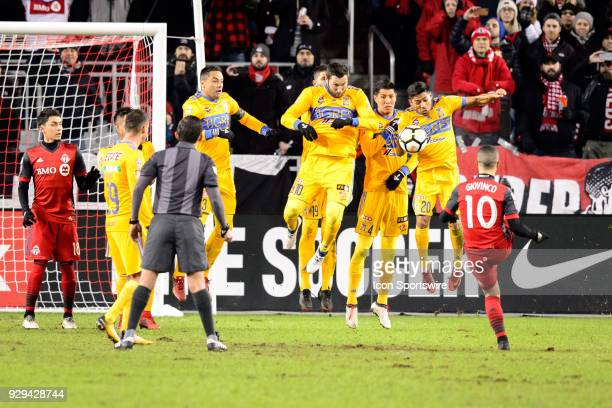 Sebastian Giovinco of Toronto FC shoots the ball into the wall during the CONCACAF Champions League Quarterfinal match between Toronto FC and Tigres...
