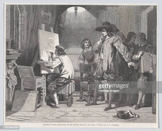 """Sebastian Gomez Discovered by His Master, Murillo, At Work, from """"Illustrated London News"""", April 29, 1848. Artist Walter George Mason."""