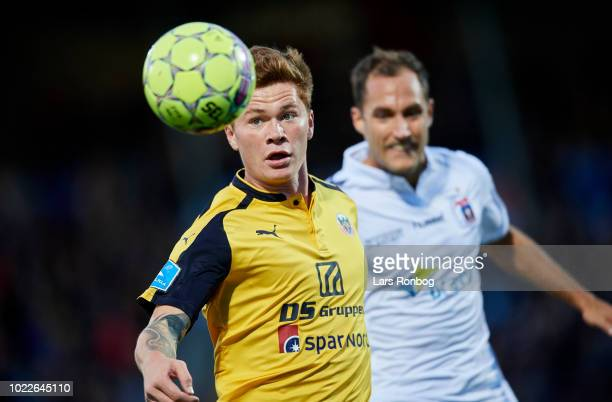 Sebastian Gronning of Hobro IK in action during the Danish Superliga match between Hobro IK and AGF Aarhus at DS Arena on August 24 2018 in Hobro...