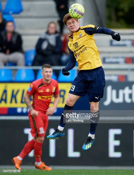 Sebastian Gronning of Hobro IK in action during the Danish Superliga match between Hobro IK and FC Nordsjalland at DS Arena on October 7 2018 in...