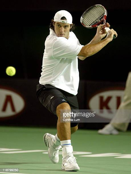 Sebastian Grosjean hits a forehand during his first match against Mark Philippoussis in the Ausralian Open at Melbourne Park on January 17 2006 Match...