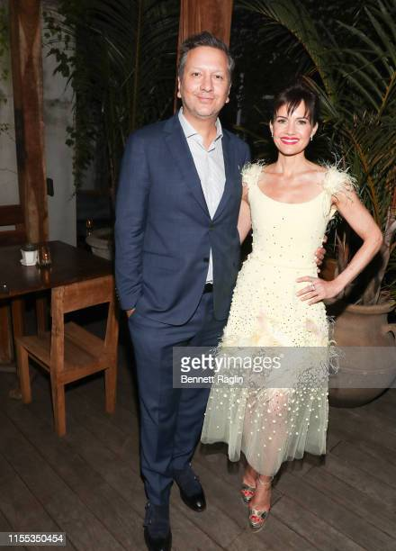 "Sebastian Gutierrez and Carla Gugino attend the New York Screening of ""Jett"" - after party at Gitano Jungle Terraces on June 11, 2019 in New York..."