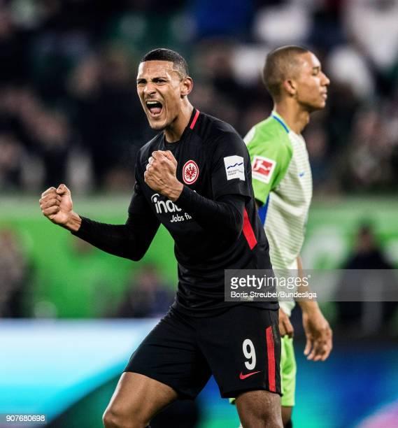 Sebastian Haller of Eintracht Frankfurt celebrates during the Bundesliga match between VfL Wolfsburg and Eintracht Frankfurt at Volkswagen Arena on...