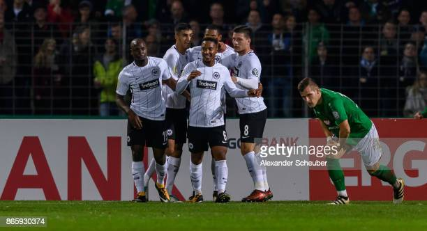 Sebastian Haller of Eintracht Frankfurt celebrates the first goal for his team during the DFB Cup match between 1 FC Schweinfurt 1905 and Eintracht...