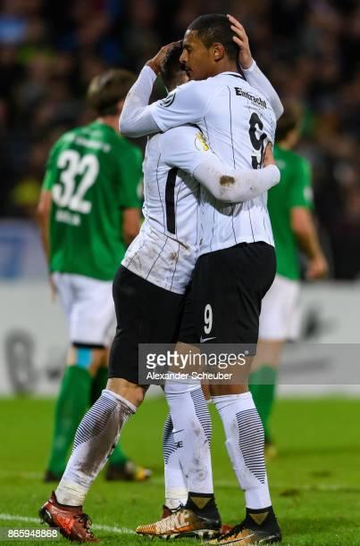 Sebastian Haller of Eintracht Frankfurt celebrates the second goal for his team with Luka Jovic of Eintracht Frankfurt during the DFB Cup match...