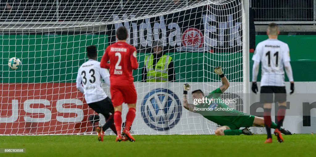 Sebastian Haller of Eintracht Frankfurt (not in the picture) scores the second goal for his team during the DFB Cup match between 1. FC Heidenheim and Eintracht Frankfurt at Voith-Arena on December 20, 2017 in Heidenheim, Germany.