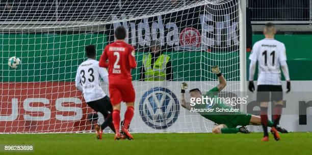 Sebastian Haller of Eintracht Frankfurt scores the second goal for his team during the DFB Cup match between 1 FC Heidenheim and Eintracht Frankfurt...
