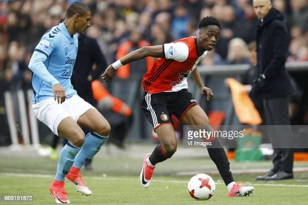 Sebastian Haller of FC Utrecht Terence Kongolo of Feyenoord Rotterdamduring the Dutch Eredivisie match between Feyenoord Rotterdam and FC Utrecht at...