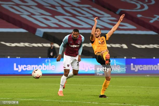 Sebastian Haller of West Ham United scores his sides fourth goal during the Premier League match between West Ham United and Wolverhampton Wanderers...