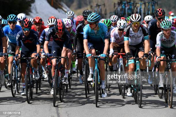 Sebastian Henao Gomez of Colombia and Team INEOS Grenadiers, Pavel Sivakov of Russia and Team INEOS Grenadiers, Aleksander Vlasov of Russia and Team...