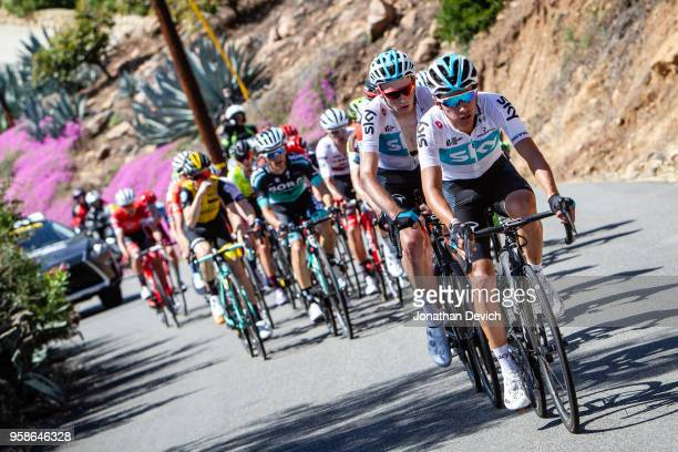 Sebastian Henao Gomez of Colombia and Team Sky leads teammate Tao Geoghegan Hart of Great Britain and Team Sky at the front of the lead group during...