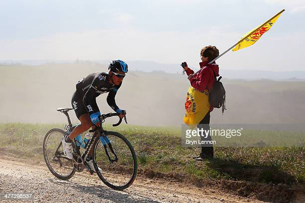Sebastian Henao Gomez of Colombia and Team SKY rides in the 2014 Strade Bianchi from to San Gimignano to Siena ll Campo on March 8 2014 in Siena Italy