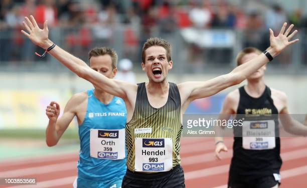 Sebastian Hendel of LG Vogtland celebrates winning the men's 5000 meter final during day 3 of the German Athletics Championships at...