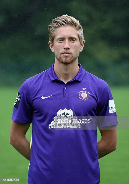Sebastian Hertner poses during the official team presentation of Erzgebirge Aue at ground 2 on July 14 2015 in Aue Germany