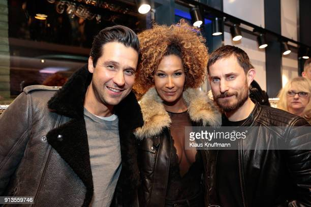 Sebastian Hilbig Marie Amière and Clemens Schick during the Opening of the Different Fashion Store at Hafencity on February 1 2018 in Hamburg Germany