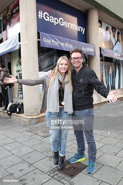 Sebastian Hoeffner and his girlfriend Patricia Hoepp attend the GAP PopUp Shop Opening on May 7 2014 in Munich Germany
